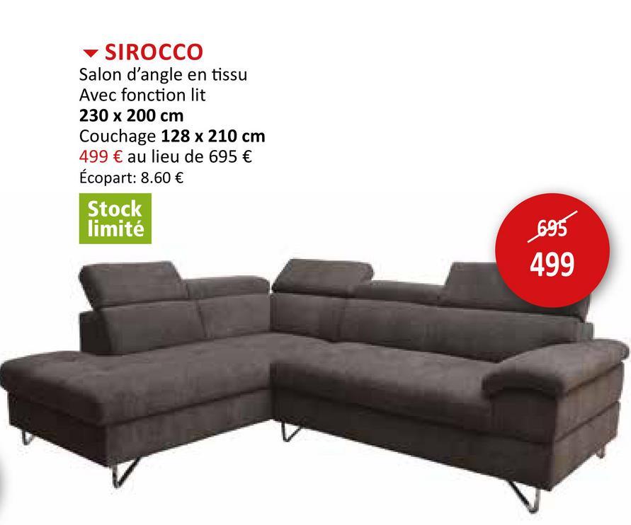 Canapé d'angle Sirocco tissu gris foncé avec fonction lit Salons Canapés D'angle Canapés-lits