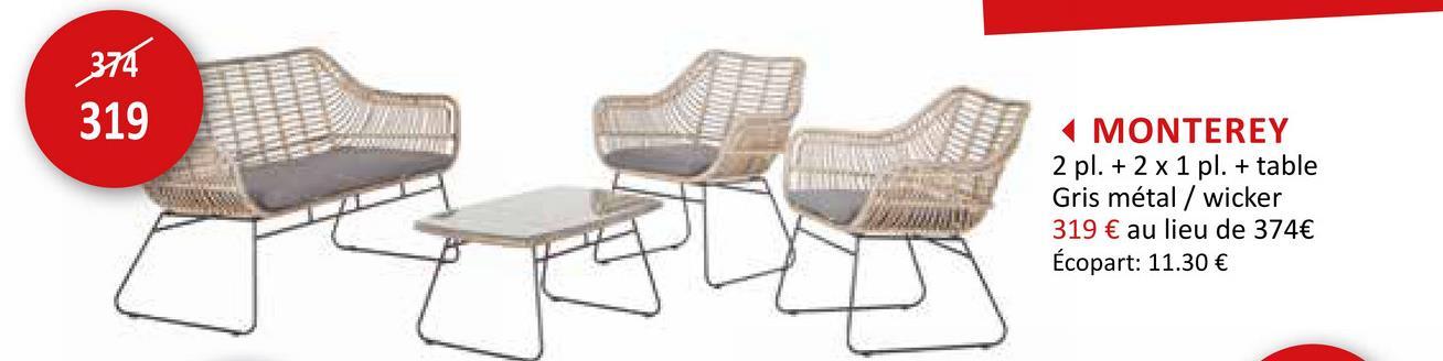 Salon lounge Monterey osier gris beige Meubles Jardin Salons De Jardin Lounge