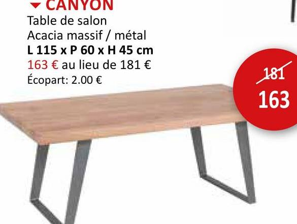 Table de Salon Canyon 115x60cm Meubles D'appoint Tables Basses