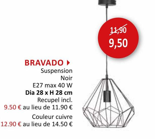 Suspension Bravado Ø28cm 40W E27 Suspension Suspensions