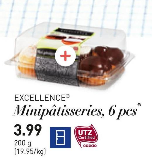 EXCELLENCEⓇ Minipâtisseries, 6 pcs* 3.99 UTZ Certified 2009 0 0 200 g (19.95/kg) cacao