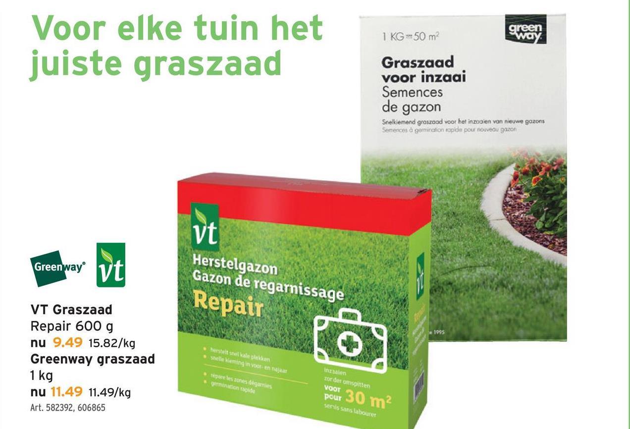 VT graszaad repair 600 g Wie van moestuinieren houdt, vindt zeker zijn gading bij GAMMA: van kleine zaadjes tot grote moestuinbakken. Een van die kleine zaadjes zijn deze zaden voor het graszaad repair (600 gram). Tip: herstelt snel kale plekken.