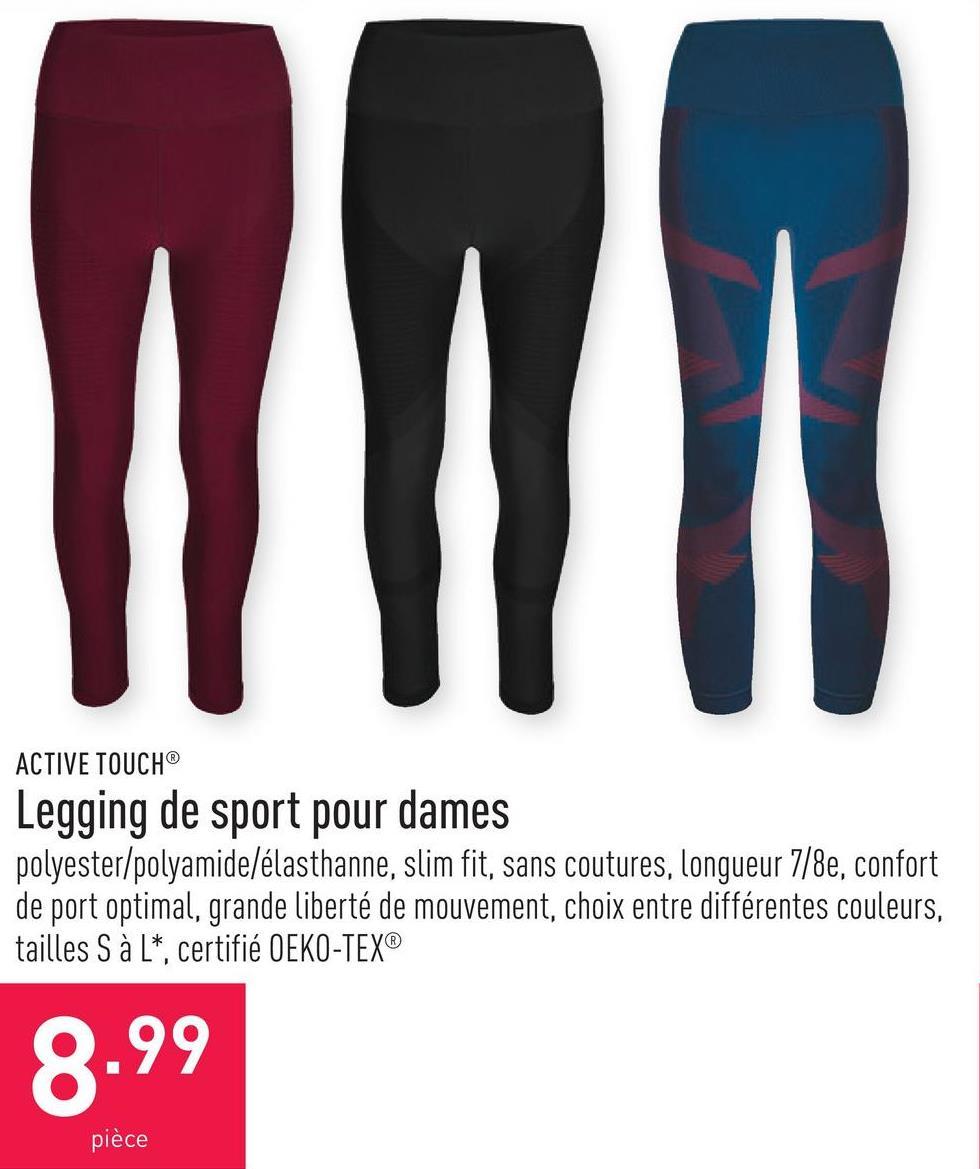 Legging de sport pour dames polyester/polyamide/élasthanne, slim fit, sans coutures, longueur 7/8e, confort de port optimal, grande liberté de mouvement, choix entre différentes couleurs, tailles S à L*, certifié OEKO-TEX®