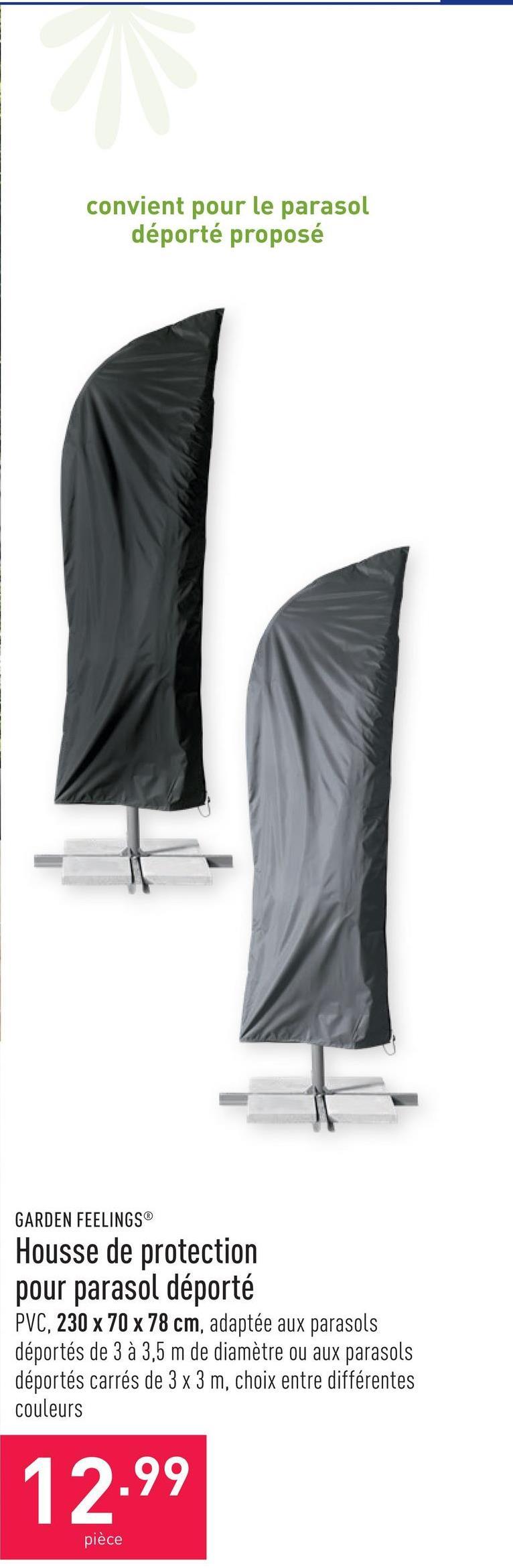 Housse de protection pour parasol déporté PVC, 230 x 70 x 78 cm, imperméable, adaptée aux parasols déportés de 3 à 3,5 m de diamètre ou aux parasols déportés carrés de 3 x 3 m, choix entre différentes couleurs
