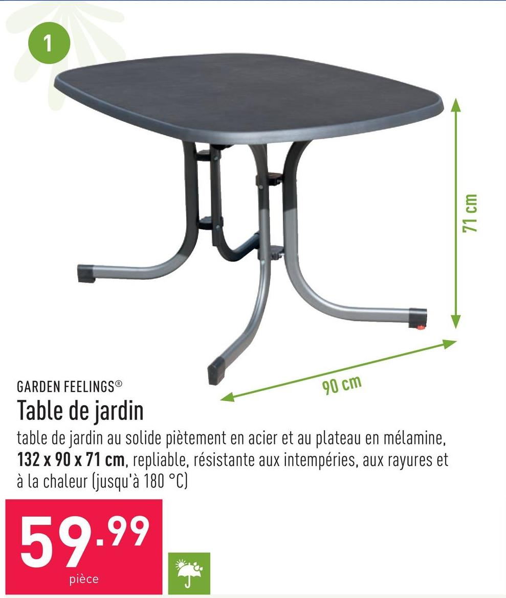 Table de jardin table de jardin au solide piètement en acier et au plateau en mélamine, 132 x 90 x 71 cm, repliable, résistante aux intempéries, aux rayures et à la chaleur (jusqu'à 180 °C)