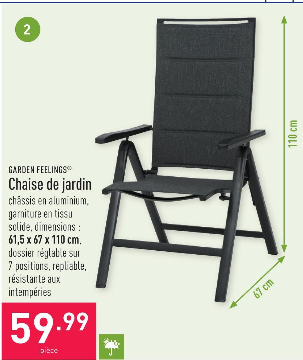 Chaise de jardin châssis en aluminium, garniture en tissu solide, dimensions : 61,5 x 67 x 110 cm, dossier réglable sur 7 positions, repliable, résistante aux intempéries