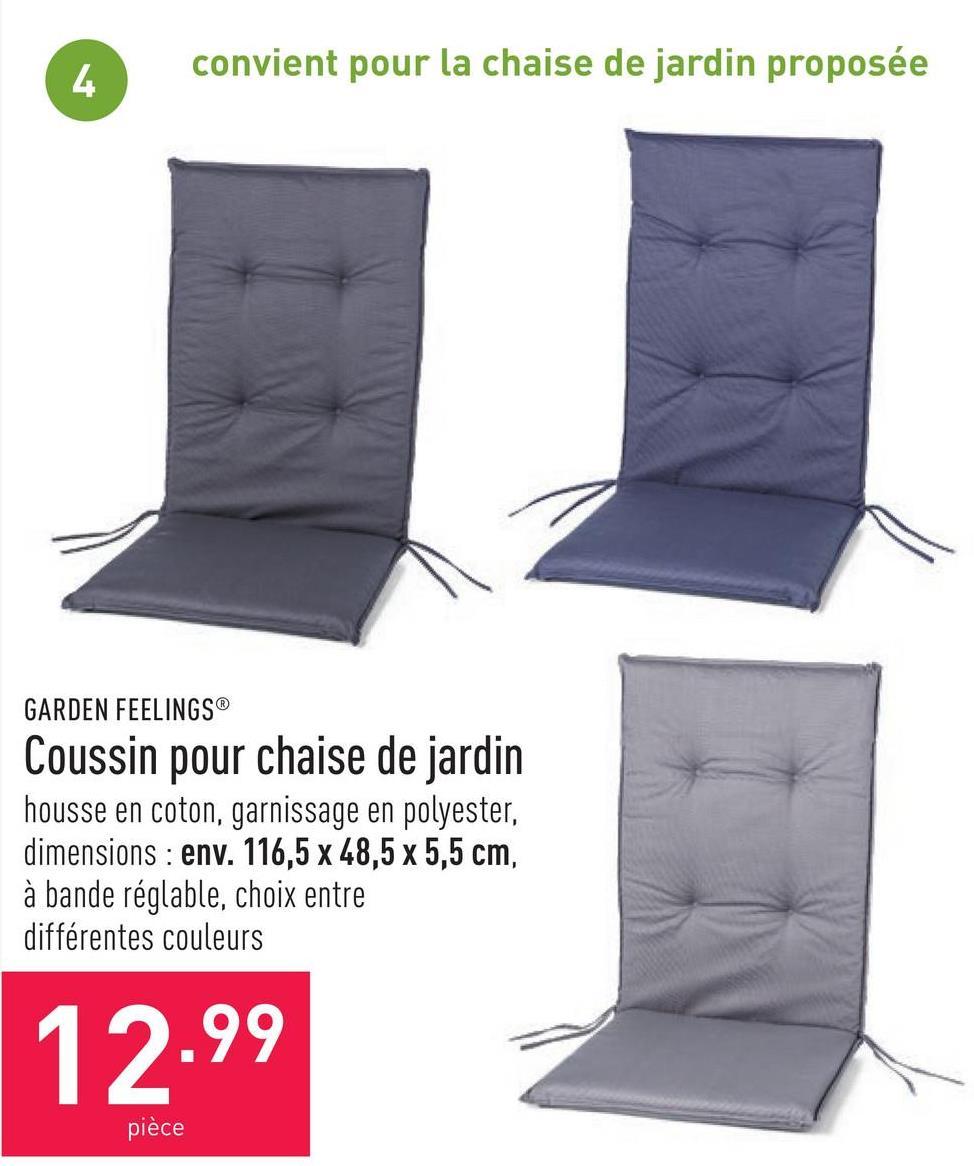Coussin pour chaise de jardin housse en coton, garnissage en polyester, dimensions : env. 116,5 x 48,5 x 5,5 cm, à bande réglable, choix entre différentes couleurs