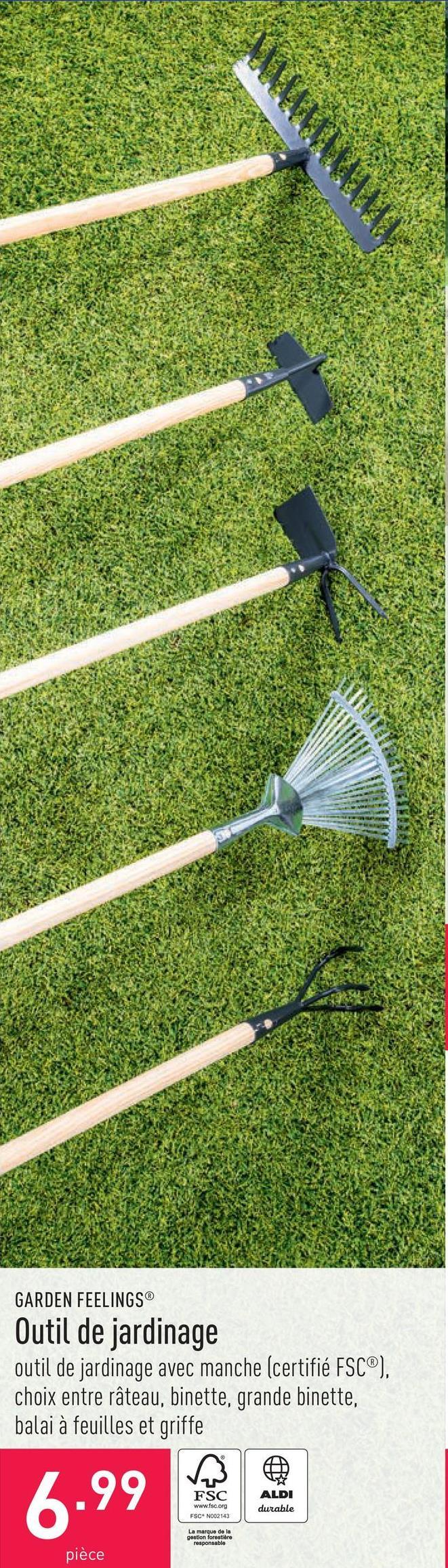 Outil de jardinage outil de jardinage avec manche (certifié FSC®), choix entre râteau, binette, grande binette, balai à feuilles et griffe