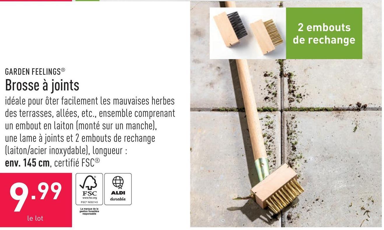 Brosse à joints idéale pour ôter facilement les mauvaises herbes des terrasses, allées, etc., ensemble comprenant un embout en laiton (monté sur un manche), une lame à joints et 2 embouts de rechange (laiton/acier inoxydable), longueur : env. 145 cm, certifié FSC®