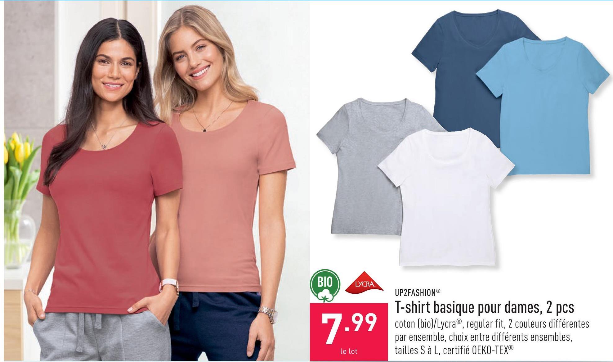 T-shirt basique pour dames, 2 pcs coton (bio)/Lycra®, regular fit, 2 couleurs différentes par ensemble, choix entre différents ensembles, tailles S à L, certifié OEKO-TEX®