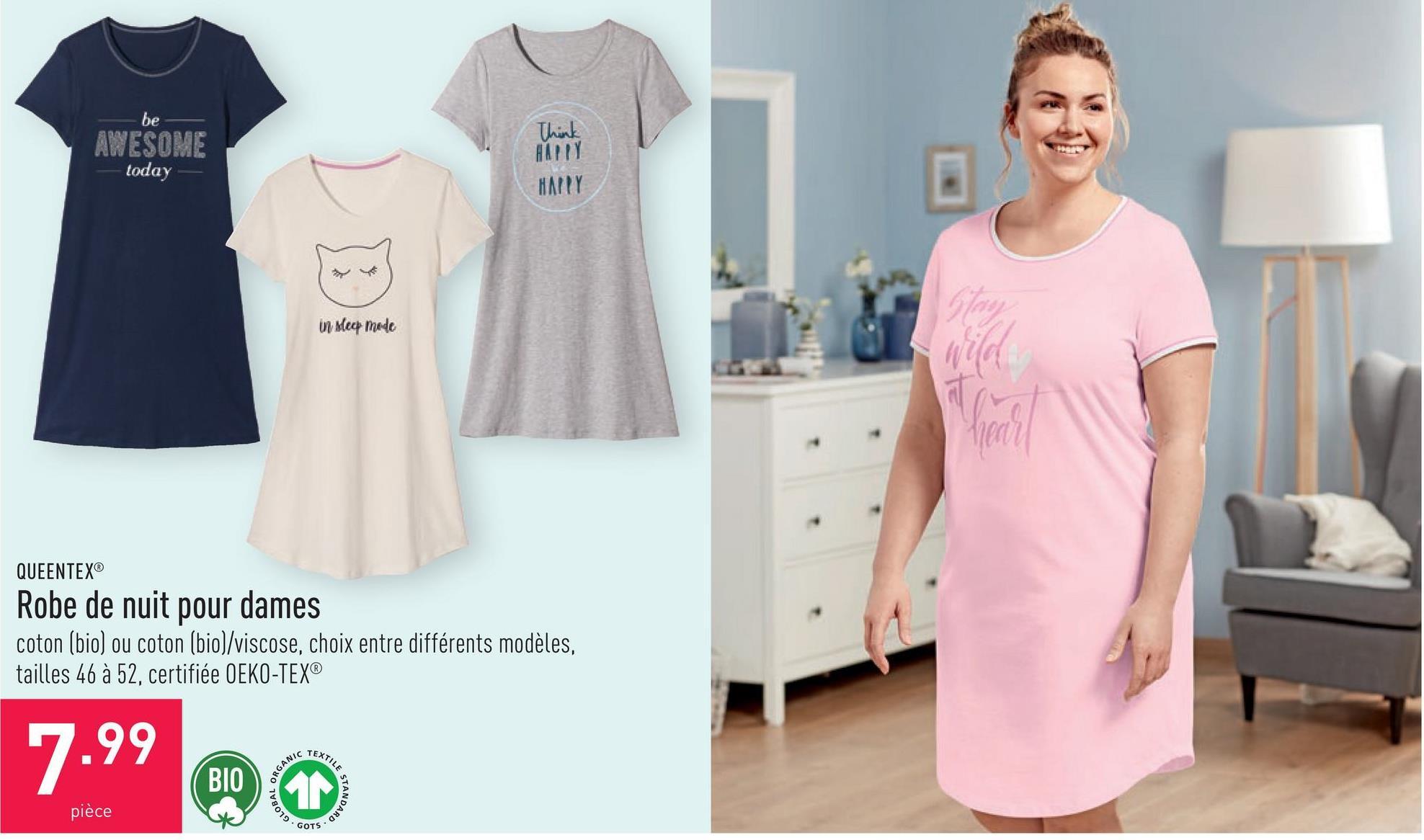 Robe de nuit pour dames coton (bio) ou coton (bio)/viscose, choix entre différents modèles, tailles 46 à 52, certifiée OEKO-TEX®