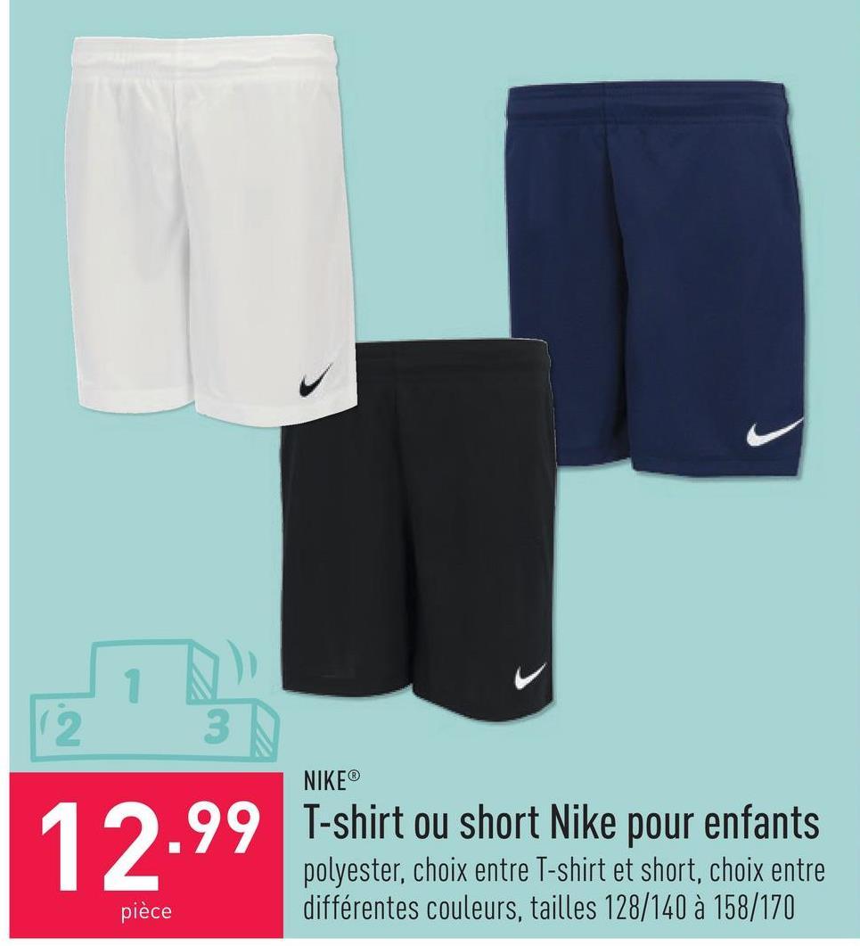 Short Nike pour enfants polyester, choix entre différentes couleurs, tailles 128/140 à 158/170