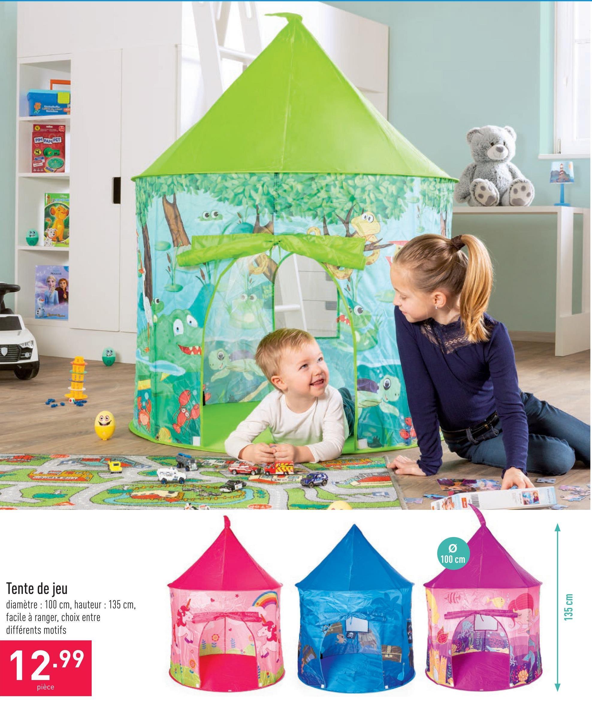 Tente de jeu diamètre : 100 cm, hauteur : 135 cm, facile à ranger, choix entre différents motifs
