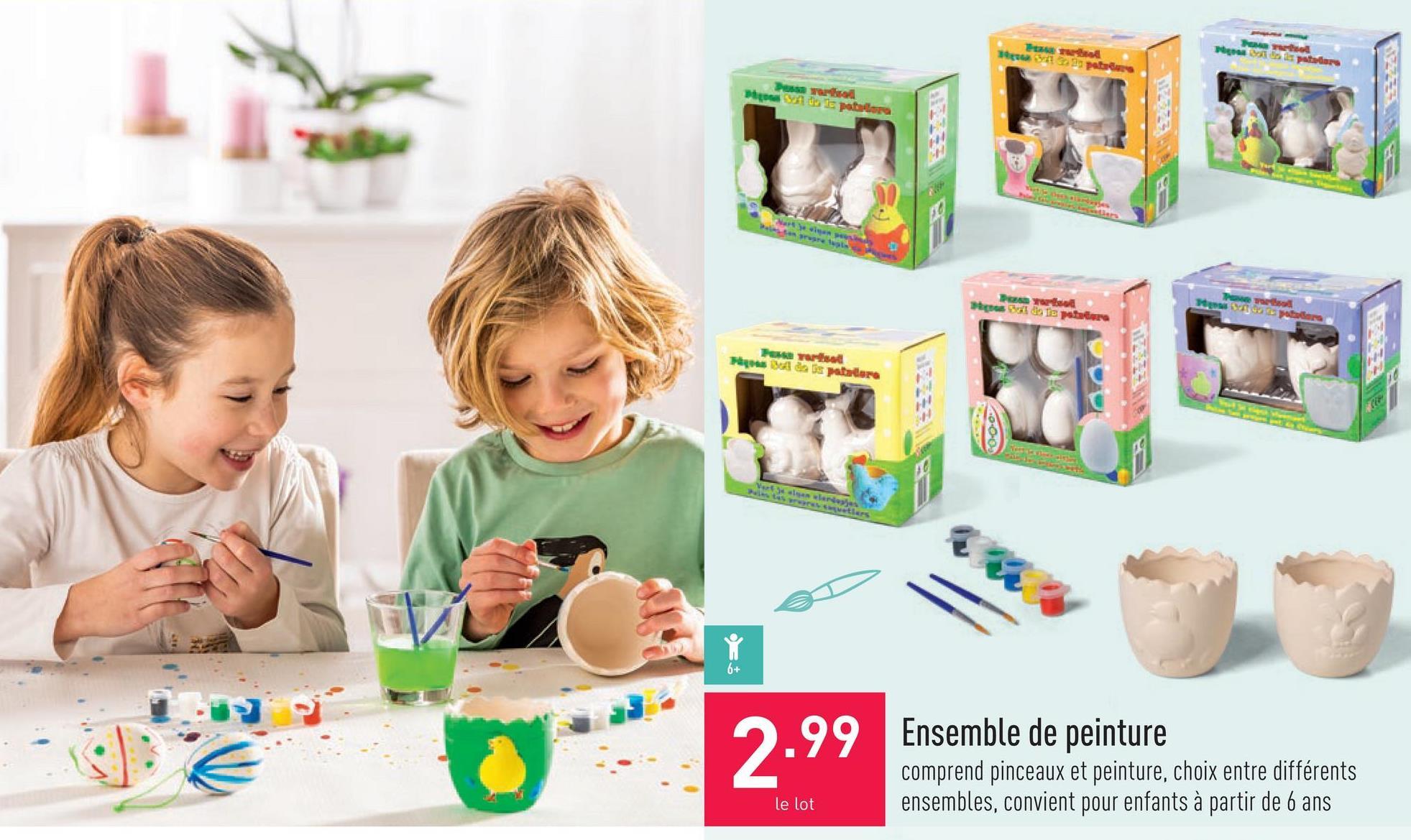 Ensemble de peinture comprend pinceaux et peinture, choix entre différents ensembles, convient pour enfants à partir de 6 ans