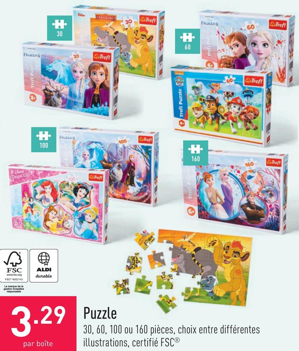 Puzzle 30, 60, 100 ou 160 pièces, choix entre différentes illustrations, certifié FSC®