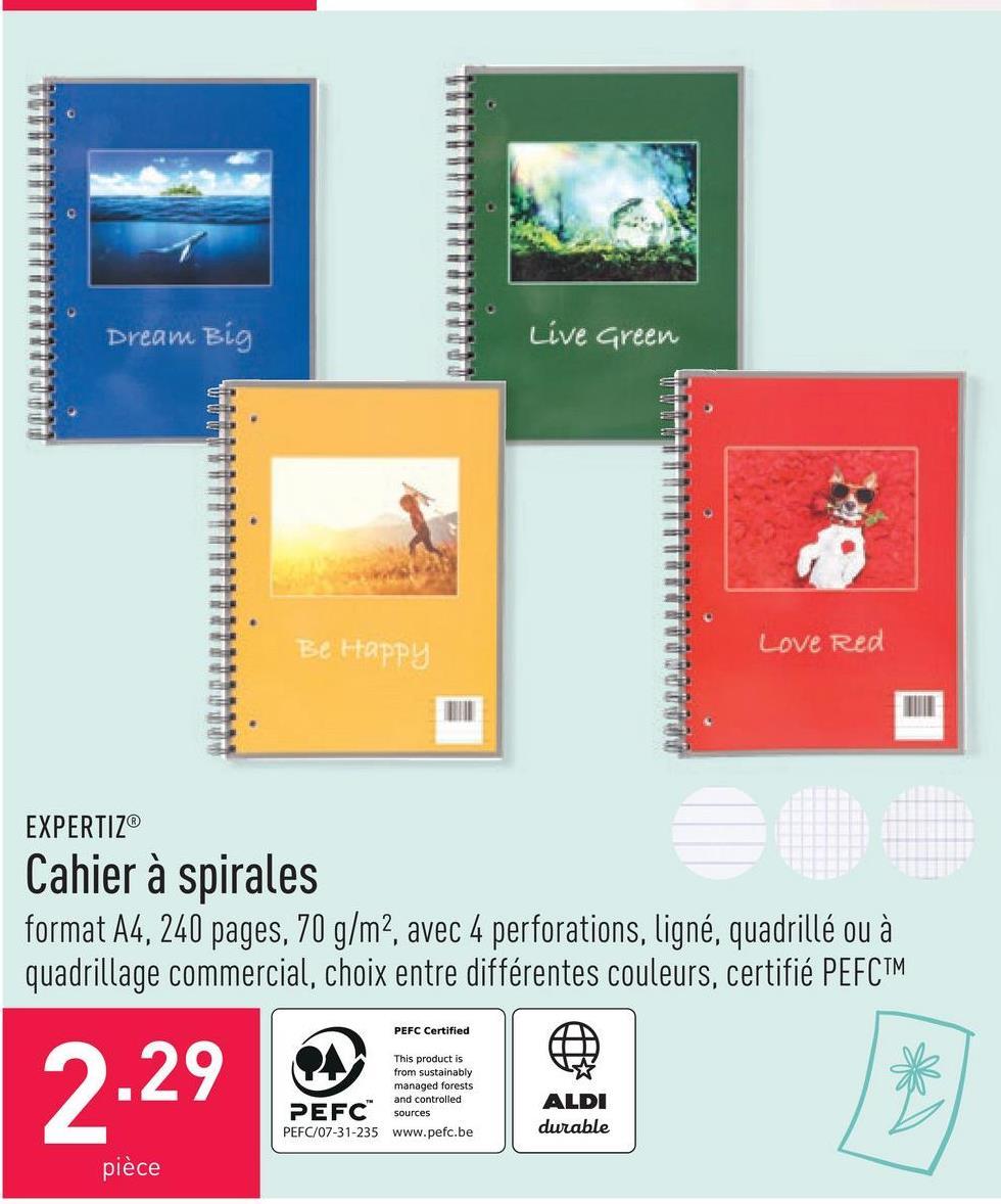 Cahier à spirales format A4, 240 pages, 70 g/m², avec 4 perforations, ligné, quadrillé ou à quadrillage commercial, choix entre différentes couleurs, certifié PEFC™