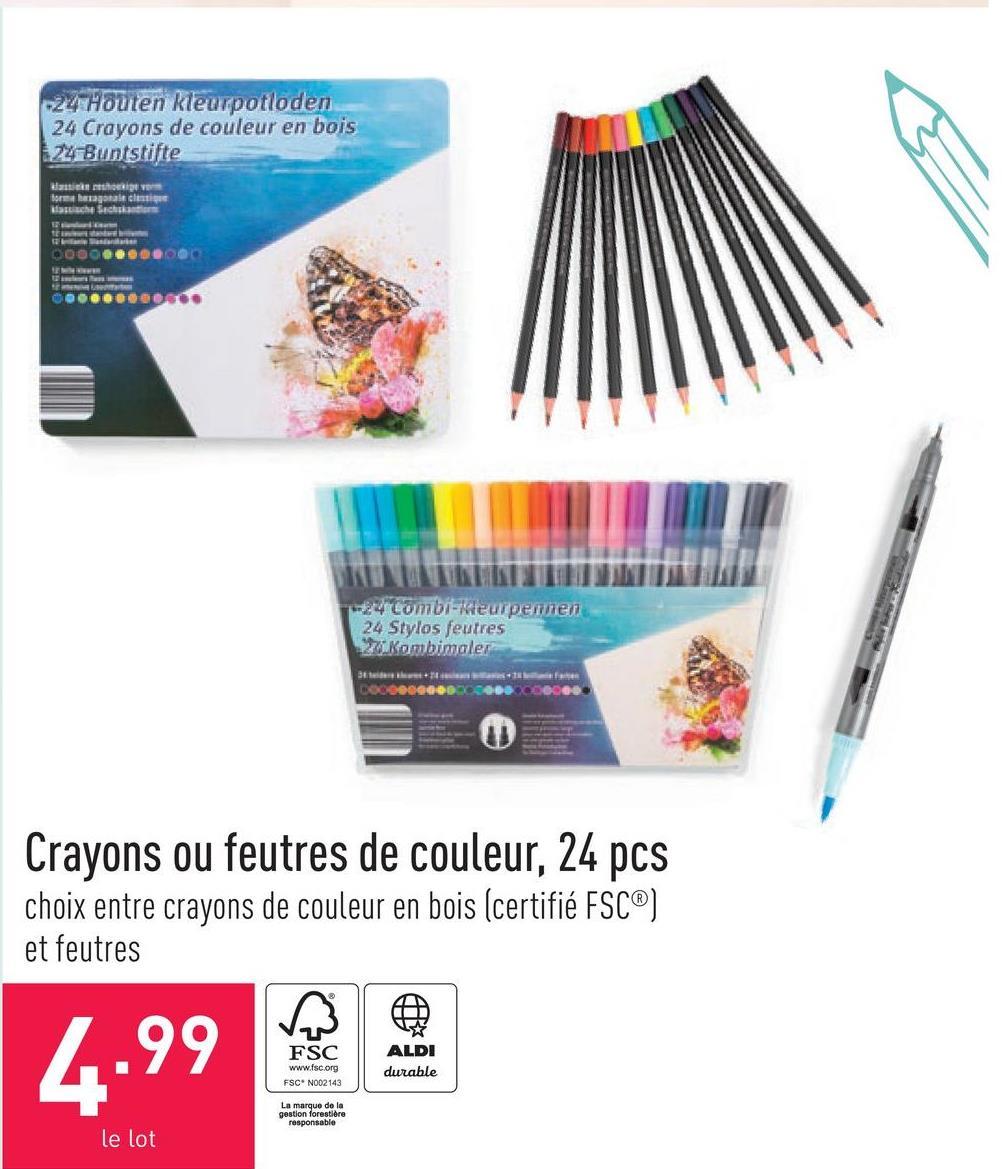 Crayons ou feutres de couleur, 24 pcs choix entre crayons de couleur en bois (certifié FSC®) et feutres