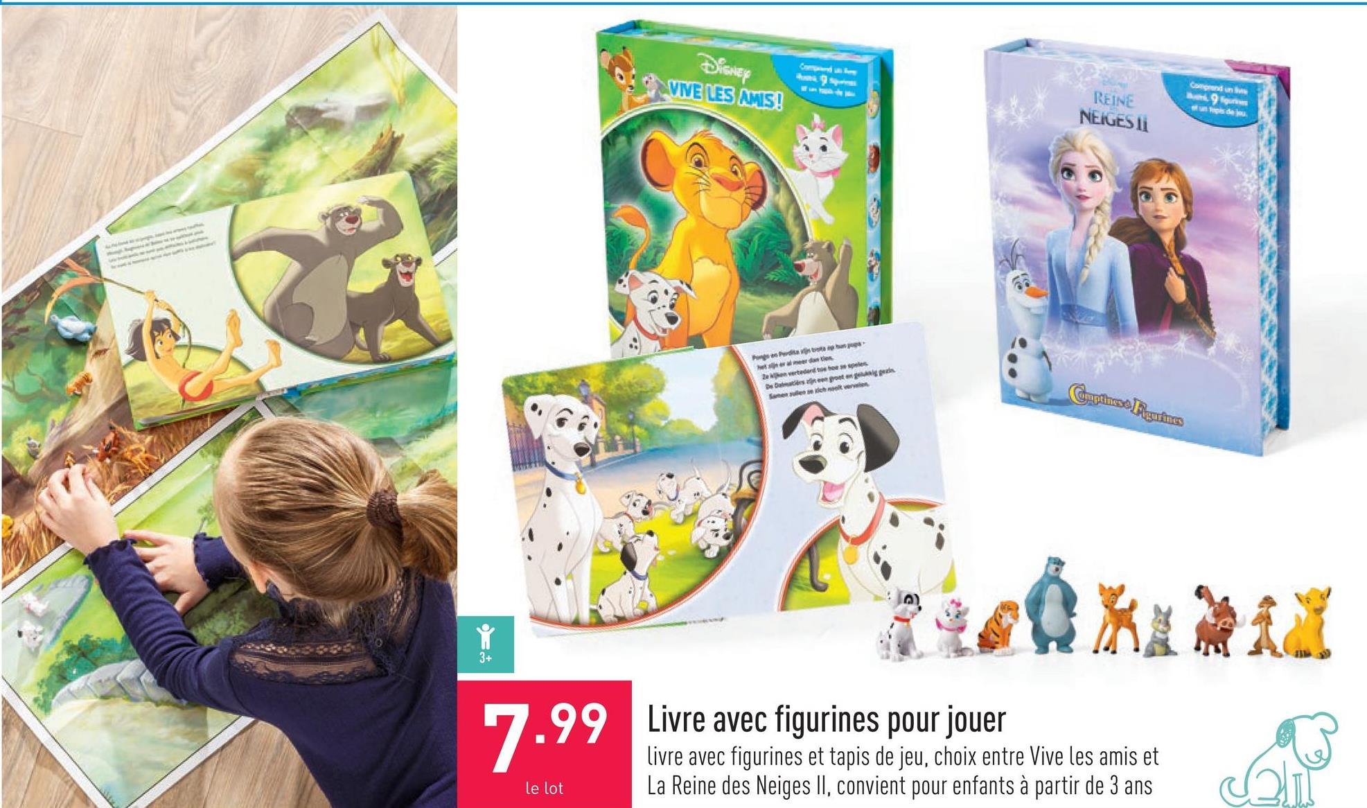 Livre avec figurines pour jouer livre avec figurines et tapis de jeu, choix entre Vive les amis et La Reine des Neiges II, convient pour enfants à partir de 3 ans