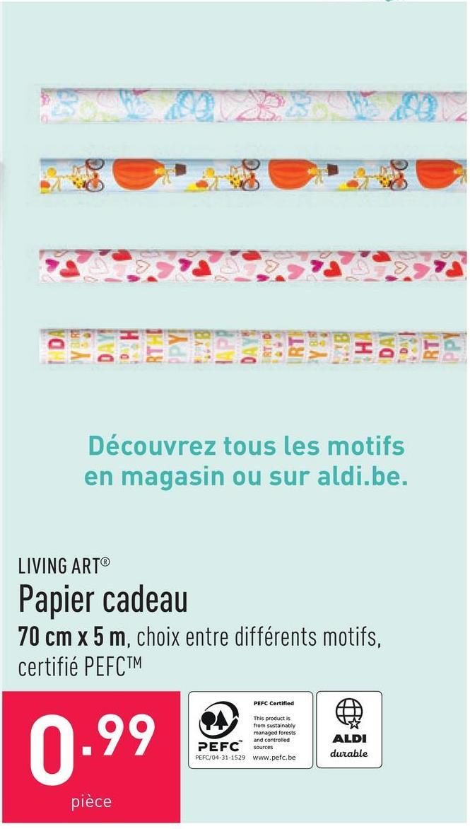 Papier cadeau 70 cm x 5 m, choix entre différents motifs, certifié PEFC™