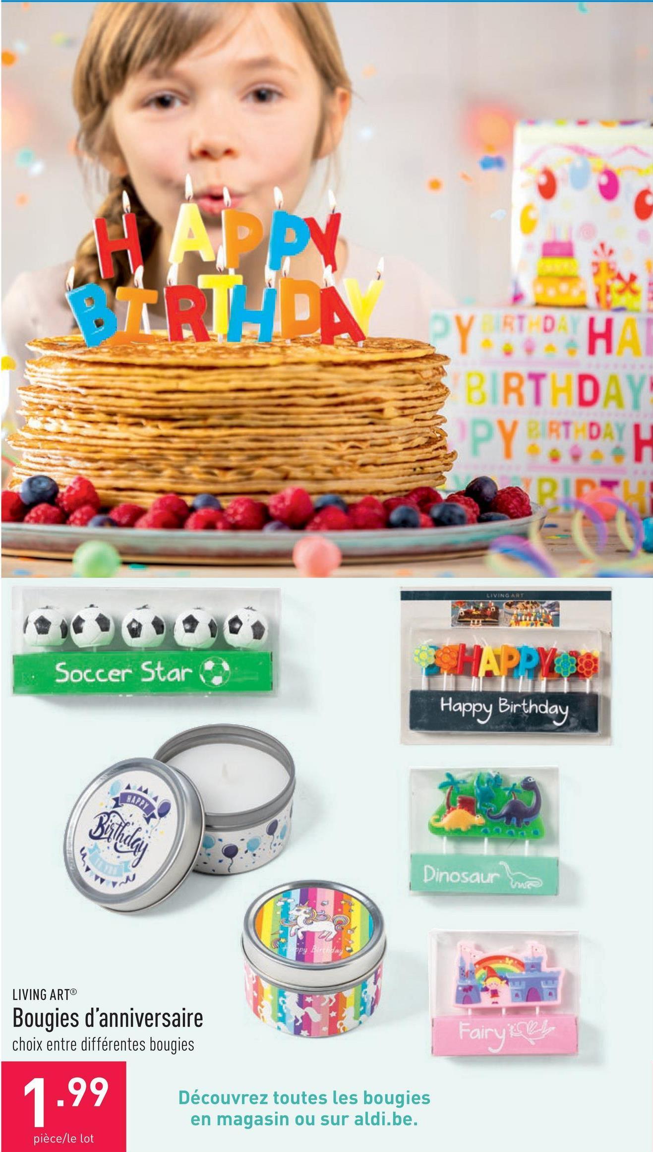 Bougies d'anniversaire choix entre différentes bougies