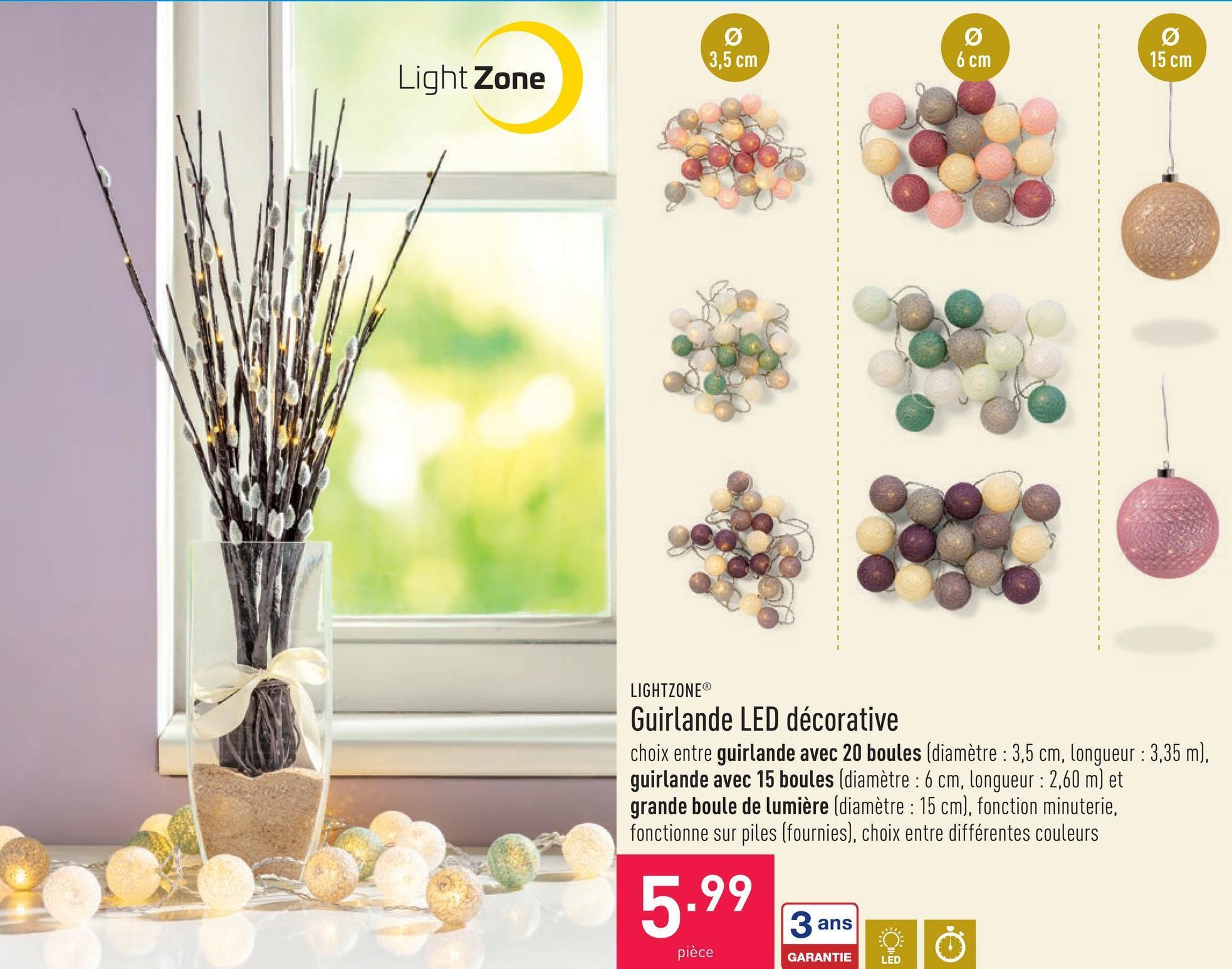 Guirlande LED décorative guirlande comprenant des LEDs et des boules en coton, choix entre guirlande avec 15 boules (diamètre : 6 cm, longueur : 2,60 m) et guirlande avec 20 boules (diamètre : 3,5 cm, longueur : 3,35 m), fonction minuterie, fonctionne sur piles (fournies), choix entre différentes combinaisons de couleurs