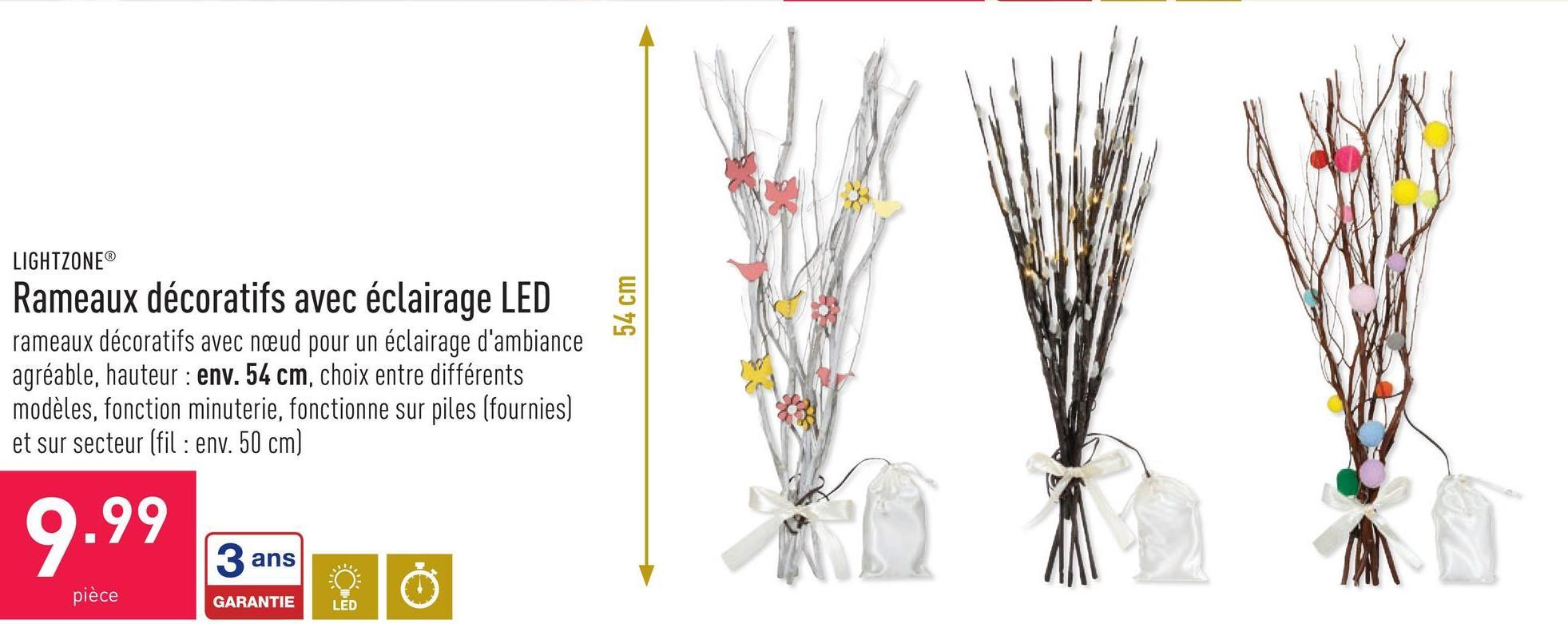 Rameaux décoratifs avec éclairage LED rameaux décoratifs avec nœud pour un éclairage d'ambiance agréable, hauteur : env. 54 cm, choix entre différents modèles, fonction minuterie, fonctionne sur piles (fournies) et sur secteur (fil : env. 50 cm)