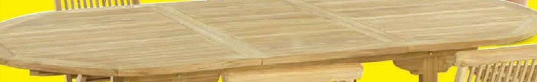 Tuintafel Aristo 180x120 cm verlengbaar tot 240cm De Garden Plus Aristo tuintafel is een uittrekbare ovalen tafel van 180 tot 240cm. De tafel uit teak is waterbestendig én UV-bestendig en heeft een gat voor een parasol. Deze tijdloos elegante tuintafel heeft een tafelblad van 3cm dik en stevige poten van 7x4 cm.