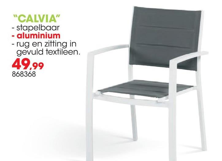 Tuinstoel Calvia De tuinstoel Calvia van Garden Plus ziet er strak uit en heeft een hoogwaardige afwerking. Deze onderhoudsvrije stoel in duurzaam aluminium is stapelbaar. De uiterst comfortabele tuinstoel in grijs en wit heeft een maximale draagkracht van 110kg.