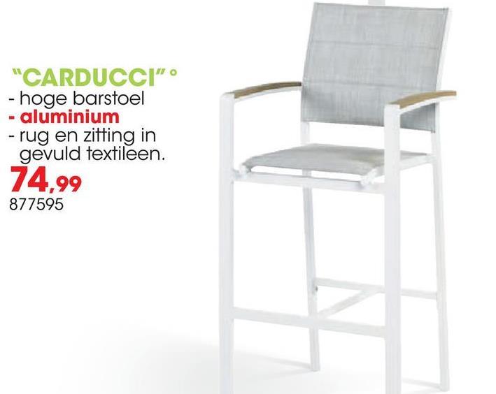 Barstoel Carducci Deze Garden Plus Carducci barstoel heeft een zandwit aluminium frame en een lichtgrijs zit- en rugvlak. De moderne barstoel heeft een maximale draagkracht van 160kg en is stapelbaar zodat je meerdere barstoelen gemakkelijk kan wegzetten zonder dat ze veel plaats innemen. Perfect voor dat tuinfeest!