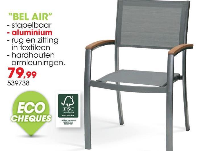 Tuinstoel Bel Air antraciet De antracietkleurige stoel Bel Air van Garden Plus is een eigentijdse tuinstoel met een hoge rugleuning voor extra zitcomfort en hardhouten armleuningen. De stoelen zijn stapelbaar en eenvoudig schoon te maken.