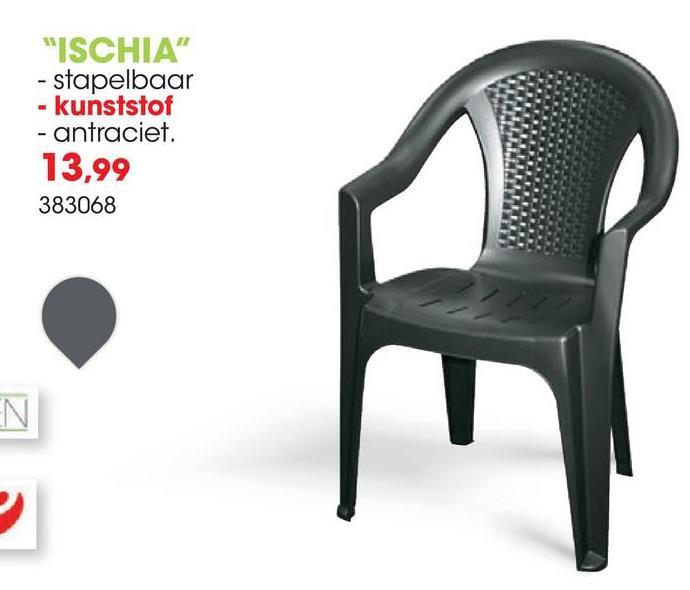 Tuinstoel Ischia antraciet De antraciet stoel Ischia van Progarden is gemaakt van kunststof en heeft comfortabele armleuningen. Deze stoel is stapelbaar en weerbestendig.