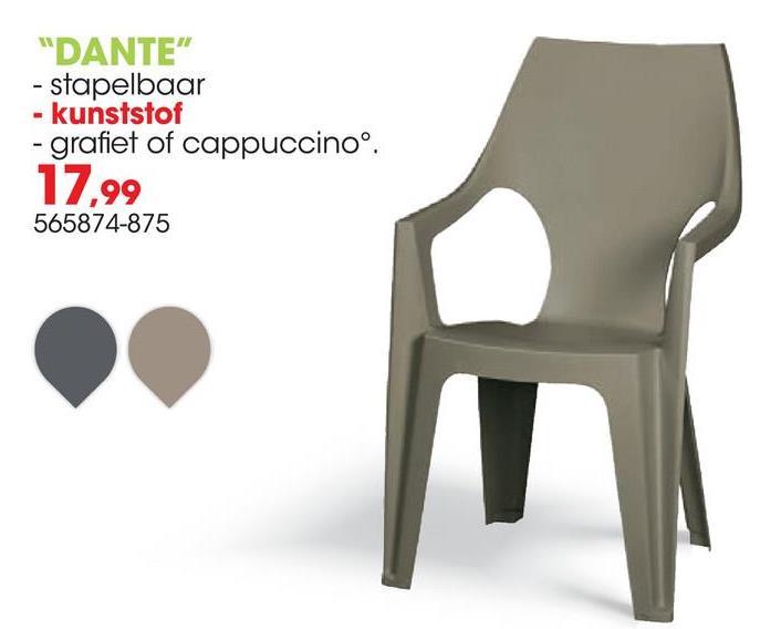 Tuinstoel Dante grafiet De Dante stapelstoel in grafiet van Allibert is een eigentijdse tuinstoel met een hoge rugleuning voor extra zitcomfort. De stoel is licht van gewicht en stapelbaar. De ronde vorm van de rug geeft de stoel een eigen karakter.Voordelen:<ul><li>Stapelbaar</li><li>Ondehoudsvrij</li><li>Weerbestendig</li><li>Gemakkelijk te reinigen</li></ul>