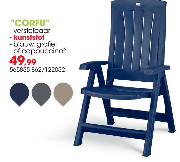 Tuinstoel Corfu grafiet De luxe verstelbare stoel Corfu grafiet van Jardin heeft 5 standen en is afgewerkt met verticale latten. De stoel kan eenvoudig ingeklapt worden zodat deze compact op te bergen is.Voordelen:<ul><li>Weersbestendig</li><li>Onderhoudsvrij</li><li>Gemakkelijk te reinigen</li></ul>