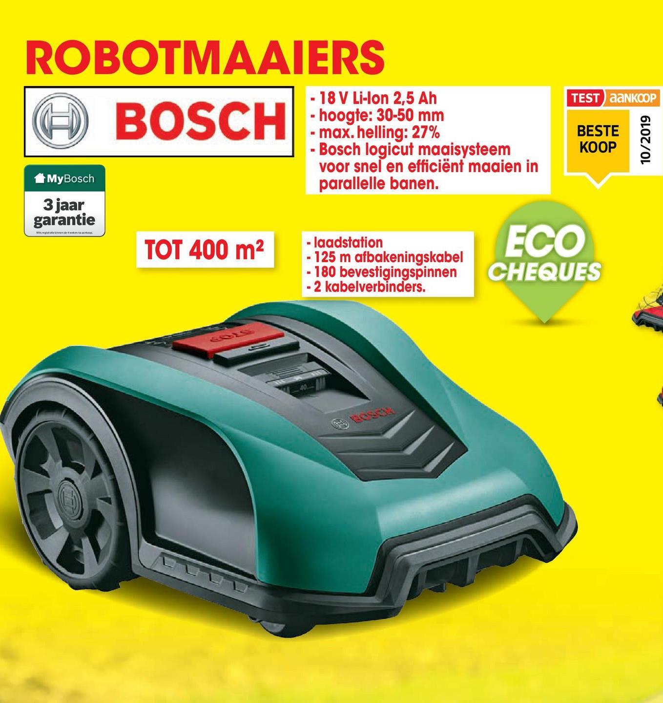 Robotmaaier Indego 400 De robotmaaier Indego 400 van Bosch is uitgerust met een mulchsysteem zodat het gemaaide gras gelijkmatig verdeeld wordt om zo voor een goed bemestingseffect en een gezond gazon te zorgen.Na het in kaart brengen van je gazon adviseert de Indego, met behulp van de Auto Calendar functie, een schema dat geschikt is voor de grootte van je gazon. Met Logicut kent de Indego de vorm en de grootte van het gazon, berekent zo de meest efficiënte maairoute en onthoudt waar hij al heeft gemaaid. De maaistrategie met evenwijdige lijnen varieert de richting van de banen met elke nieuwe maaisessie om het gras niet te overbelasten.De gebruiker is geen tijd meer kwijt met het maaien van het gazon. De Indego werkt na installatie volledig zelfstandig. De maaier gaat vanzelf terug naar het basisstation om op te laden en manoeuvreert rond obstakels. Diverse sensoren detecteren obstakels en bewegen eromheen, daarna gaat de machine verder met maaien op de berekende route. De Indego onthoudt de maaisessie waardoor je het reeds gemaaide gazon kan gebruiken, terwijl de Indego de rest maait.De robotmaaier Indego 400 wordt geleverd met een basisstation, basisstation schroeven, 180 bevestigingspinnen, 125m begrenzingsdraad, een voedingseenheid en 2 draadverbinders.<ul><li>Intuïtieve programmering en eenvoudige bediening</li><li>Kan hellingen tot 27% aan</li><li>Minimaal stroomverbruik, minder lawaai en minder luchtvervuiling</li><li>Laadtijd accu: 45 min</li><li>Looptijd accu: 30 min</li></ul>