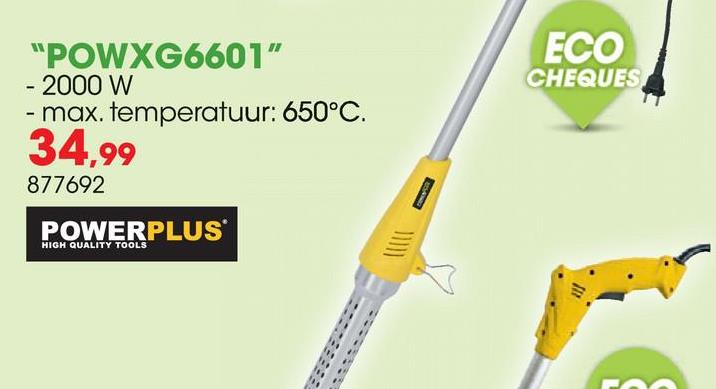 Elektrische onkruidbrander 2000W POWXG6601 Met de Powerplus X Garden POWXG6601 elektrische onkruidbrander verwijder je onkruid op een snelle, efficiënte én ecologisch verantwoorde manier. Met deze onkruidbrander is onkruid bestrijden veilig en zonder chemische producten, gas of een open vlam.  <ul><li>Hoge temperatuur van 650°C  </li><li>Onkruid wegbranden in 5 à 10 seconden </li><li>Onkruid sterft af en komt nooit meer terug</li><li>Lange aluminium schacht van 115cm voor een groot bereik zonder bukken </li><li>Veel lichter dan een gasbrander </li><li>Mondstuk voor heel gericht werk en precies onkruid wegbranden</li><li>Kan veilig afkoelen in de voorziene voetsteun</li></ul>