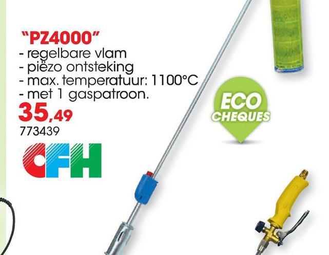 Onkruidbrander op gas PZ4000 De onkruidbrander PZ4000 is milieuvriendelijk en bevat geen chemicaliën. De onkruidbrander heeft een handgreep met afstelventiel, een instelbare vlam en piëzo-ontsteking. De onkruidbrander wordt geleverd met 1 gaspatroon.