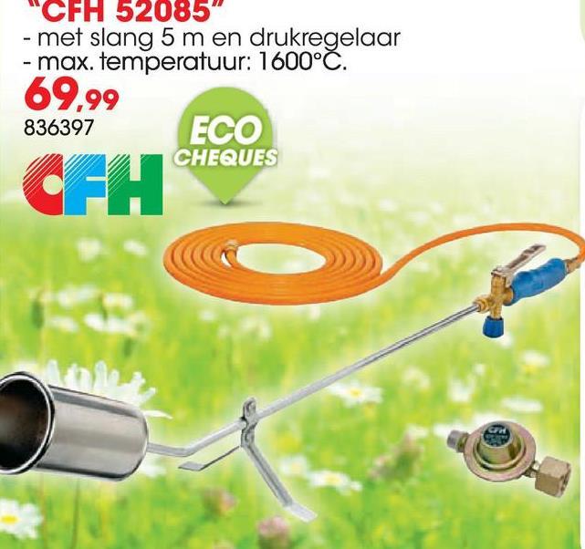 """Onkruidbrander op gas CFH 52085 + slang 5m Dit afbrandtoestel heeft een diameter van 60mm en heeft een energiebesparende hendel met een verwijderbare schroefhandgreep. Het toestel wordt geleverd met een slang van 5m (3/8"""") en een statief. Gebruik dit afbrandtoestel voor onder andere onkruidverdelging of het verwijderen van mos, maar ook voor het plaatsen van dakisolatie of het werken met bitumen."""