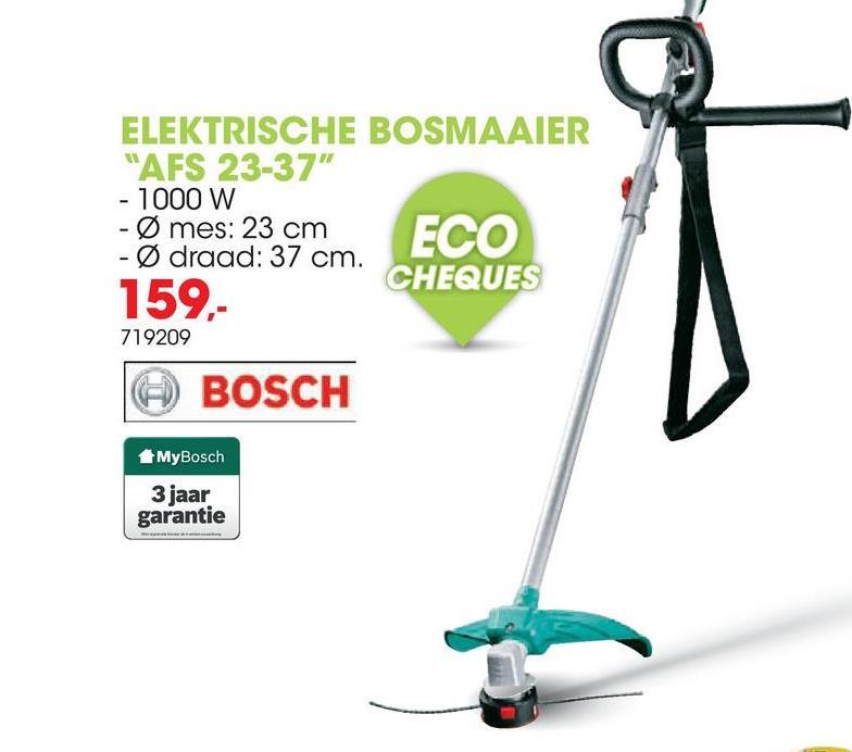 Elektrische bosmaaier / trimmer 900W AFS 23-37 Deze krachtige bosmaaier AFS 23-37 van Bosch heeft een vermogen van 900W en is geschikt voor het zwaardere trimwerk.