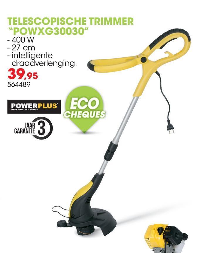Elektrische trimmer 400W 27cm POWXG30030 Deze telescopische elektrische trimmer van Powerplus X Garden helpt je je gazonranden mooi af te werken en het gras te maaien op plekken waar je anders moeilijk bij kunt. Voor het kantsnijden van opritten en paden kan je makkelijk overschakelen naar de kantsnijderfunctie. Een handig wieltje begeleidt je bij het kantsnijden en je bloemen zijn veilig dankzij de voorziene bloemenbescherming. De trimmer heeft een snijbreedte van 270mm en een spoel met dubbele draad met een draaddikte van 1,4mm en een lengte van 5m. Het toestel beschikt ook over een intelligente draadtoevoer waardoor de spoel automatisch meer snijdraad zal toevoeren wanneer dat nodig is. Dit zal je veel tijd en moeite besparen. Bovendien kan de werkhoogte afgestemd worden op je lengte dankzij de uitschuifbare, stevige aluminium steel. Ook het zachte hulphandvat is instelbaar, waardoor je sowieso de perfecte greep hebt.