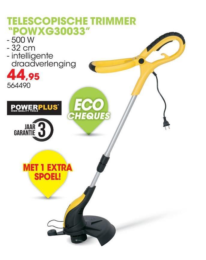 Elektrische trimmer 500W 32cm POWXG30033 Deze telescopische trimmer van Powerplus X Garden heeft een vermogen van 500W en een maaibreedte van 32cm. De snijdraad heeft een diameter van 1,6mm en een lengte van 4m. Deze trimmer wordt geleverd met een extra spoel.