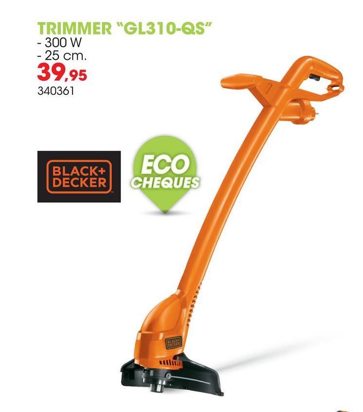 Elektrische trimmer 300W 25cm GL310-QS Deze trimmer van 36V van Black+Decker zorgt voor een perfecte afwerking van je gazon. Met zijn licht gewicht en tweede handgreep ben je zeker van een goede balans, goede controle en een optimaal gebruiksgemak.Dankzij het Black+Decker bump feed mechanisme heb je geen problemen met je kabel. Gebruik de Black+Decker A6226-XJ spoel en draad als je de spoel van de machine wilt vervangen.