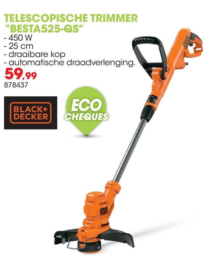 Elektrische trimmer 450W 25cm BESTA525-QS Met de trimmer BESTA525-QS van Black+Decker met automatisch enkeldraads draadtoevoersysteem bespaar je tijd en moeite. Je kan snel en krachtig gras trimmen met de snijbreedte van 25cm. De verstelbare, telescopische steel van deze trimmer is aanpasbaar voor elke gebruiker zodat je altijd in alle comfort werkt.<ul><li>Snel omschakelen tussen grastrimmen en graskanten knippen met Trim 'n' Edge</li><li>Verstelbare tweede handgreep voor nog betere controle en optimaal gebruiksgemak</li><li>Kantgeleider voor een perfect afgewerkte graskant</li><li>Compatibel met de CM100 wielbasis voor gecontroleerd en comfortabel gebruik bij grote oppervlaktes</li></ul>