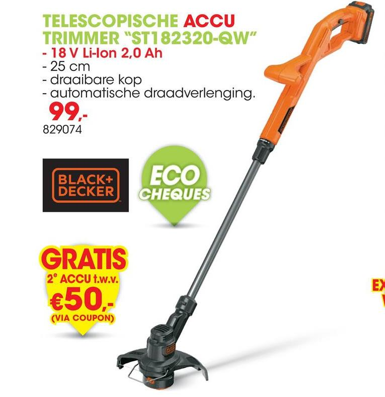 Accu trimmer 18V 25cm Li-Ion ST182320-QW Deze trimmer 18V van Black+Decker heeft een snijbreedte van 25cm en is dus ideaal voor middelgrote tuinen. Dankzij de accu is het toestel beter wendbaar en beter te controleren tijdens het gebruik. Dankzij de Trim 'n' Edge-functie kan je snel omschakelen tussen trimmen en het knippen van graskanten.<ul><li>E-drive: hoog koppel voor efficiënter snijden</li><li>AFS: volautomatisch draadtoevoersysteem</li><li>Graskantgeleider voor perfect afgewerkte graskanten</li></ul>