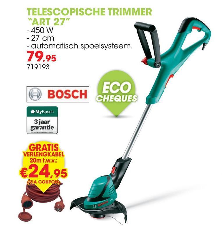 Elektrische trimmer 450W 27cm ART 27 De krachtige en gebruiksvriendelijke telescopische trimmer ART 27 van Bosch heeft een automatisch spoelsysteem. Deze trimmer is verstelbaar in hoogte van 80cm tot 115cm.