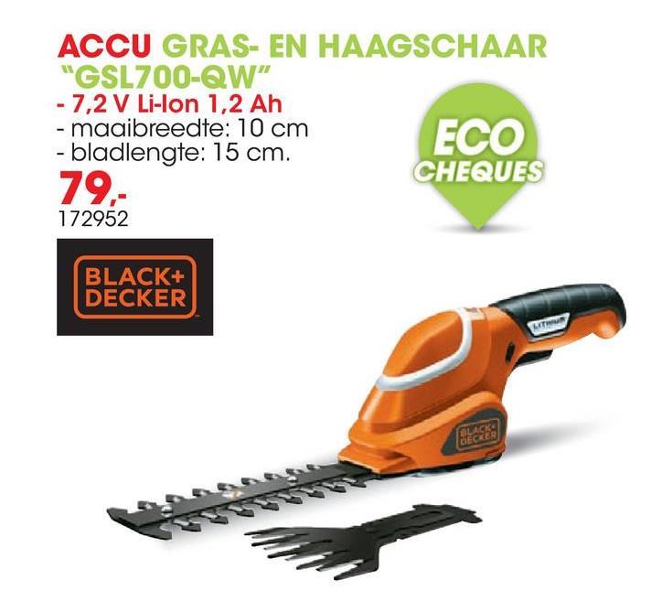 Accu gras- en heggenschaar 7,2V 10cm GSL700-QW Deze gras- en haagschaar van Black+Decker is een handig 2-in-1 gereedschap. De veelzijdige schaar kan gebruikt worden voor het knippen van graskanten, kleine heggen en kleine struiken. Met één simpele druk op de knop kunnen de bladen worden gewisseld van trimstand naar kantmaaistand. Dankzij de batterij kan je genieten van een snoerloze vrijheid die de schaar zeer licht maakt en eenvoudig in gebruik. De batterij opladen kan op verschillende plaatsen met de losse lader. Het laadstation heeft een handige laadindicator om de acculading te controleren.
