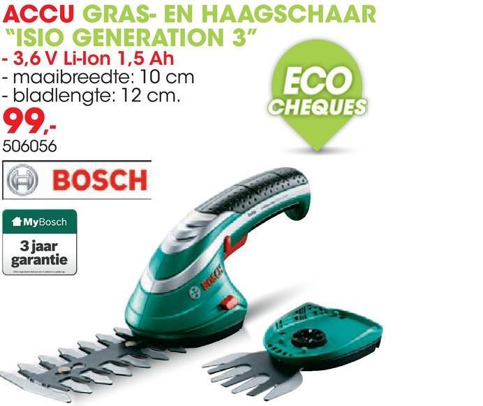 Accu gras- en heggenschaar ISIO Gen III 3,6V Deze gras- en haagschaar ISIO GEN III van Bosch is onmisbaar voor een nette tuin. Met deze schaar gaat het snoeien van buxusplanten en het trimmen van gras zeer vlot. De schaar ligt goed in de hand maar is ook zeer gemakkelijk te gebruiken. Dankzij de Lithium-Ion 3,6V batterij kan je genieten van een snoerloze vrijheid om de klus snel te klaren.
