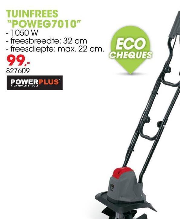 """Tuinfrees 1050W POWEG7010 Deze tuinfrees van Powerplus EG met 4 stalen messen is door zijn compacte afmetingen ideaal voor kleinere tuinen. Met deze tuinfrees kan je snel en efficiënt de grond los maken en verluchten, onkruid verwijderen of meststoffen en compost onder de grond mengen. Je kan tot 32cm breed en 22cm diep werken. Met de ergonomische fietshandgreep """"fiets"""" je als het ware doorheen het veld. Je kan het handvat makkelijk plooien en zo de tuinfrees weer netjes opbergen, zonder dat hij te veel plaats inneemt."""
