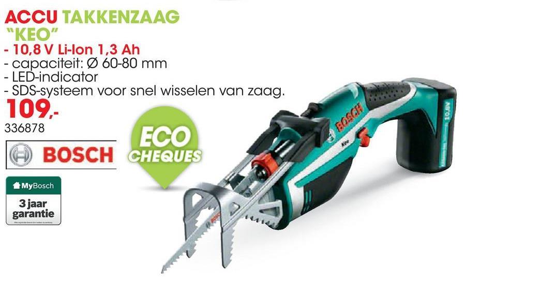 Accu takkenzaag KEO 10,8 LI Deze draadloze en compacte Bosch KEO accutuinzaag maakt snoeien met één hand mogelijk dankzij de afneembare A-grip die takken zonder ondersteuning vasthoudt. Snoeit tot 80mm dikke takken.