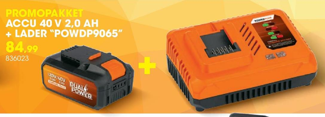 Lader 20V/40V met accu 40V Li-Ion Deze set bevat een 40V accu voor de DUAL POWER toestellen en een lader  20V/40V. De 40V Li-Ion accu past op alle toestellen uit het DUAL POWER  assortiment, zowel op de powertools als op het tuingereedschap. Je kan  deze 40V accu zowel voor de 40V als 20V toestellen gebruiken. Combineer  je de accu met een 20V DUAL POWER toestel, dan krijg je een accu met een  langere gebruiksduur, waardoor je veel langer kan blijven werken.  Dankzij de 3 led lichtjes controleer je snel en makkelijk de capaciteit  van de accu en weet je op elk moment of je de accu bijna moet opladen.  De DUAL POWER lader 20V/40V met een korte laadtijd van 1 uur (20V-accu)  of 2,5 uur (40V-accu) maakt je accu snel weer gebruiksklaar. Als de accu  volledig opgeladen is, verandert het indicatielichtje van rood naar  groen en kan je weer aan de slag. De acculader is geschikt voor zowel de  20V als 40V accu van DUAL POWER.