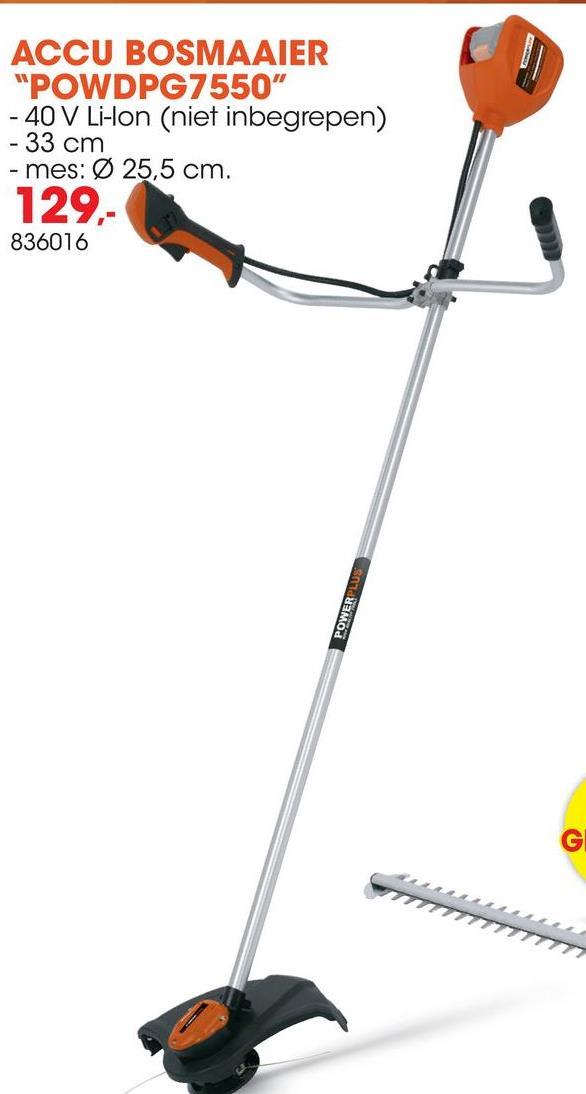 Accu bosmaaier / trimmer 40V Li-Ion POWDPG7550 geleverd zonder batteri Deze 2-in-1 40V bosmaaier kan je ook tot grastrimmer omvormen. Je kan dus zowel taai gras en struiken maaien als de graskanten na het maaien nadien netjes bijwerken en trimmen. Daarvoor volstaat het om de maaischijf te vervangen door de 4m lange spoel (allebei inbegrepen). Gebruik je de bosmaaier, dan heb je een werkbreedte van 22,5cm. Ga je voor de grastrimmer, dan werk je op 33cm. Dankzij de accu kan je maaien of trimmen zonder gedoe met verlengsnoeren, in alle vrijheid. De dubbele spoel heeft een tap & go bediening. Na een zachte tik op de grond verlengt de draad automatisch. De bosmaaier POWDPG7550 met fietshandgreep kan je inschakelen op lage of hoge snelheid. Wisselen tussen de twee snelheden gaat snel en eenvoudig. Met de handige draagriem is een ergonomische werkhouding verzekerd en ontlast je zowel rug als spieren.De accu en lader zijn niet inbegrepen. Deze zijn afzonderlijk te koop en zijn geschikt voor het hele DUAL POWER assortiment. Op deze 40V bosmaaier/grastrimmer past de 40V DUAL POWER accu.Over DUAL POWER: DUAL POWER staat voor 2 accu's – 20V en 40V – die je combineert met een heleboel powertools en tuingereedschap. Met DUAL POWER spaar je heel wat geld uit, want je hoeft niet voor elk gereedschap een nieuwe accu te kopen.